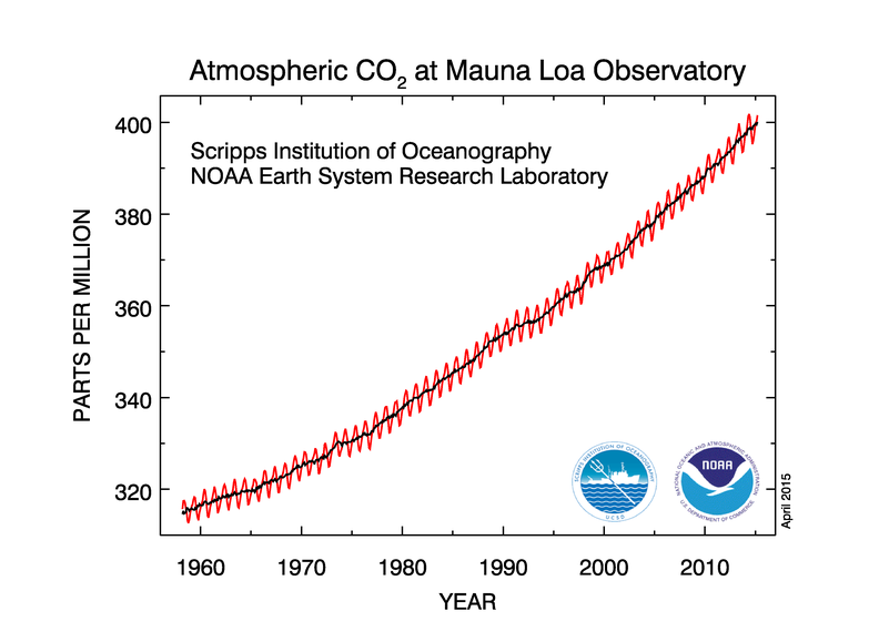 Naměřená koncentrace CO2 v atmosféře v letech 1958-2010 v laboratoři Mauna Loa v ppm. Zdroj: Dr. Pieter Tans, NOAA/ESRL (www.esrl.noaa.gov/gmd/ccgg/trends/) and Dr. Ralph Keeling, Scripps Institution of Oceanography (scrippsco2.ucsd.edu/).