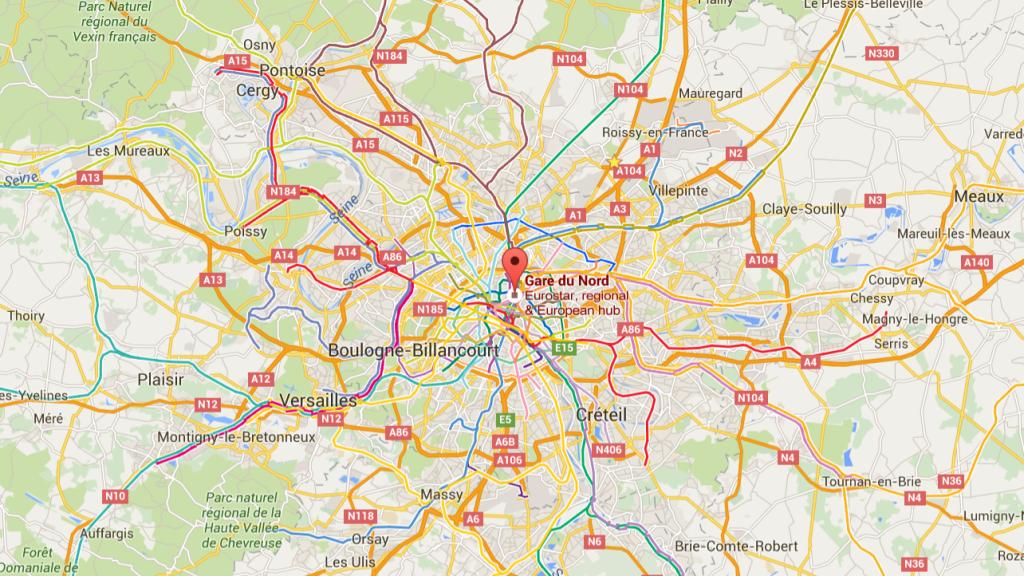 Poloha nádraží Gare du Nord v centru Paříže (zdroj: Google Maps).