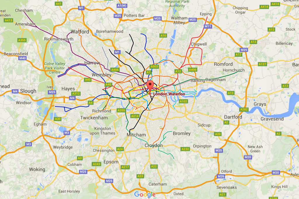 Poloha nádraží Waterloo v centru Londýna (zdroj: Google Maps).