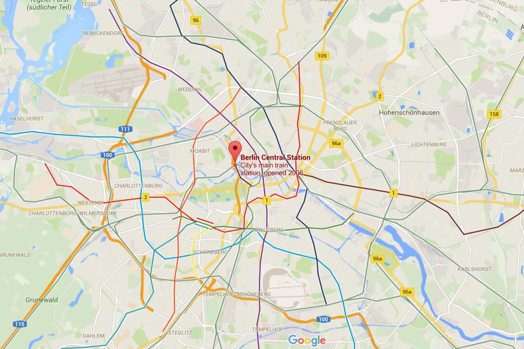 Poloha nádraží Berlin Hbf v centru Berlína (zdroj: Google Maps).